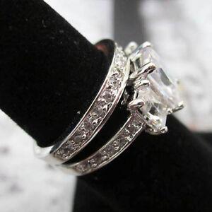 Modern Princess Cut Set Silver Platinum Plated Wedding Band Sz 5, 6, 7, 8, 9,10