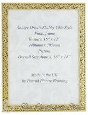 Handmade Vintage Gold Floral Picture Frame for a 16x12 inch Photo.