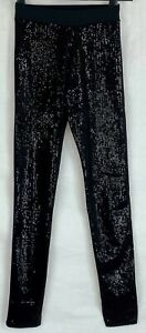 CALZEDONIA Womens Black Sequin Party Trousers SMALL