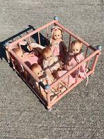 "Vintage P & M DOLL COMPANY Tub Able Doll Babies n Antique Crib 5"" LOT of 6 ❤️m13"
