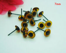 100pcs 7mm Glass Eyes On Wire Amber Color Toy Teddy Eyes Puppets Dolls Crafts