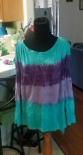 WOMEN'S PURPLE AND BLUE TIE DYE LONG SLEEVE SHIRT WITH SHOULDER HOLES SIZE LARGE