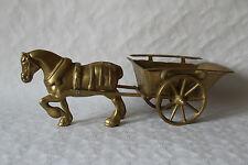 Skulptur Figur Pferd  mit Kutsche Wagen Messing