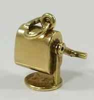 Vintage 14K Gold Krementz ~3D PENCIL SHARPENER~ Charm moves