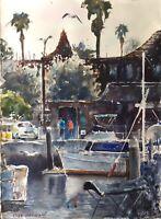 "Watercolor Original Painting Marina Del Rey California    11"" x 15"" NOT A PRINT"