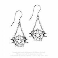 ALCHEMY ENGLAND Gothic Pentagram Surgical Steel Pewter DROPPER EARRINGS Goddess