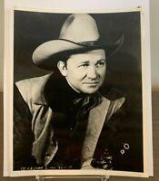 Tex Ritter 8 x 10 Glossy Official Fan Club Photo ~ Western Cowboy Actor Singer