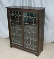 Antique Oak Bookcase – leaded glass sliding doors - Stylish and Functional Beaut