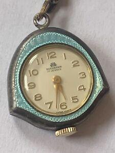 Vintage Bucherer BLUE Enamel Necklace Pendant Watch & Chain