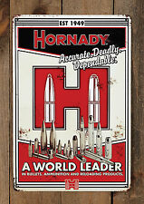 "Hornady vintage chapa escudo ""accurate. Dames. Dependable."" aprox. 30x45cm"
