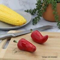Ceramic Red Chili Pepper Salt & Pepper Shakers Set Vegetable Collectible Shakers
