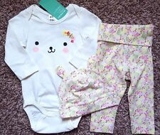 NWT Girl's Size 3-6 M 4-6 Months 3 Pc H&M Cream Puppy Top, Floral Pants & Cap