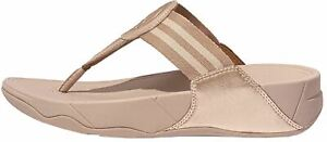 Fitflop  Rose Gold Womens Leather & Textile Toe-Post Walkstar Sandals