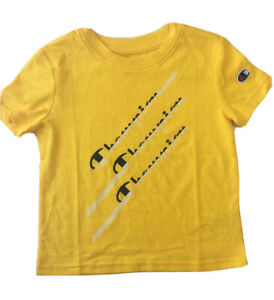 Champion Authentic Athletic Wear Toddler Boys Logo Yellow T-Shirt Size 4T
