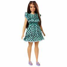 Barbie Fashionistas Doll #149 curvy Long Brunette Hair& Polka-Dot Dress,glasses.
