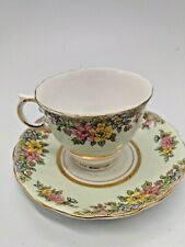 Colclough Bone China Floral with green Cup & Saucer Both Marked 1M