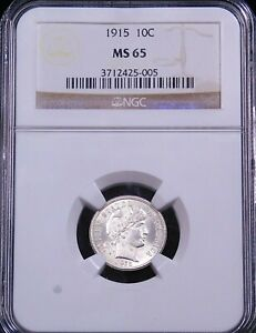1915 Barber Dime NGC MS65 Blast White Super Frosty Luster Premium Quality #GC818