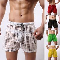 Mens Fishnet See Through Boxer Shorts Drawstring Lounge Short Underwear Summer