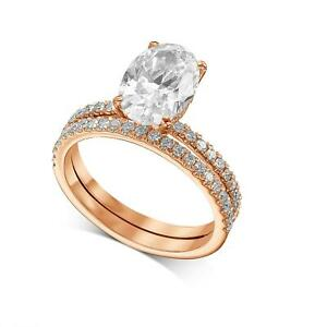 2 Ct Oval Cut Diamond Engagement Ring Halo Matching band 14k Rose Gold F SI1