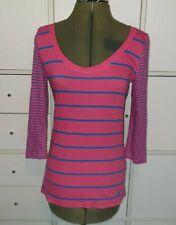 HOLLISTER Blue & Pink Striped Hollister 3/4 Sleeve T Shirt Size S 8/10 uk