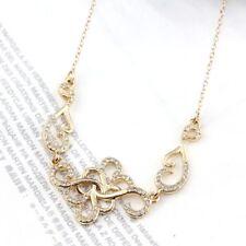 Crystal Flower Necklace Jewelry Pendant Gold Choker Women Dress Party Wedding K