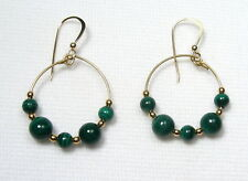 Lyns Jewelry Malachite Hoop Earrings Gold