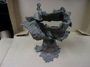 Vtg Bronze Flower Coral Modern Contemporary Abstract Sculpture Head Free Form