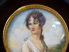 ANTIQUE MINIATURE PAINTING PORTRAIT YOUNG WOMAN HAND PAINTED ARTIST SIGNED #4