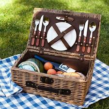 Lujo Mimbre Sauce canastas de picnic 2 personas al aire libre cesta Set Cubiertos