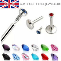 Internally Threaded Tiny Gem Labret Lip Bar Monroe Tragus Stud Helix Lip Ring UK