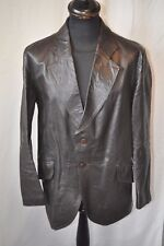 "VINTAGE 1970 Brown in Pelle Western Roxy Giacca Taglia Large 44"" Fight Club"