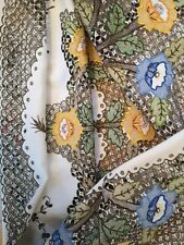 Vintage hand embroidered colourful floral  very detailed Madeira tablecloth
