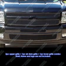Fits 2007-2013 Chevy Silverado 1500 Black Billet Grille Grill Insert Combo