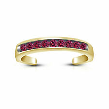 Toe Ring 14K Yellow Gold Finish Pink Sapphire Channel Set Open Adjustable