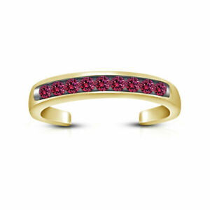 Pink Sapphire Channel Set Open Adjustable Toe Ring 14K Yellow Gold Finish