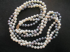 10K Gold 3 Strand 5-5.5mm Cultured Pearl NECKLACE 2 Strands white 1 Strand Black