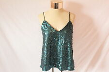 Women's Dark Green Sequined Belly Shirt by Forever 21 - US Size S
