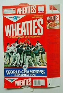 Two 1987 Wheaties MN Twins MLB Champions Commemorative 18 Oz Boxes & Media Guide