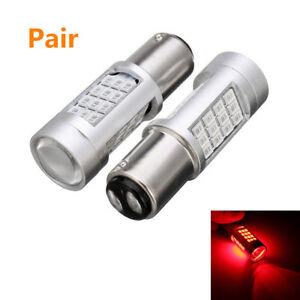 2Pcs 1157 LED Car Rear Alert Safety Brake Tail Stop Lights Red Flashing Strobe