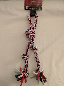 New Pet Dog Puppy Triple Knotted Rope Pull Fetch Toss Dog Chew Toy