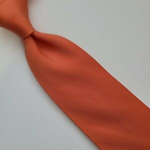 18A) HERMES PEACH ORANGE SOLID 100% SILK NECKTIE MADE IN FRANCE