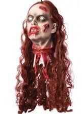Hembra cortadas Cabeza Látex Decoración de tamaño real de Halloween Vestido de fantasía Zombie