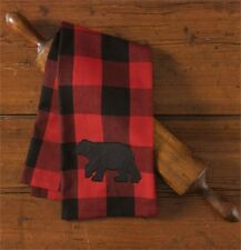 Buffalo Check Bear Applique Kitchen Dish Towel by Park Designs Red Black