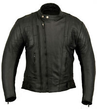US20 Mens Leather Motorcycle Motorbike Jacket 44 XL