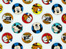 DISNEY MICKEY MOUSE CHARACTER BADGE GOOFY PLUTO DONALD COTTON FABRIC BY THE YARD