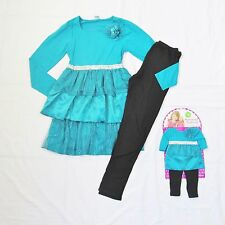 """Dollie & Me Matching Dress Black Leggings Outfit Fits 18"""" American Girl Doll 12"""