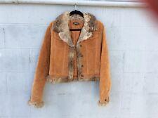 Lili Rose Camel Brown Soft Genuine Suede Leather Coat Jacket Small, Rabbit Fur