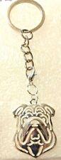 Bulldog Dog Pup Key Ring Silver Alloy Keychain Zipper Pull Purse Charm Jewelry