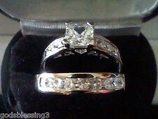 PLATINUM & SS PRINCESS LCS DIAMOND ENGAGEMENT WEDDING RING SET + GIFT SZ 7