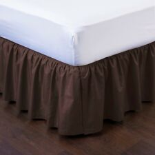 "1 BEDDING DRESSING BED PLEATED SKIRT WITH OPEN CORNERS 14"" INCH DROP SIZE QUEEN"
